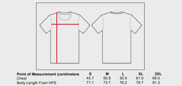 Thorus Tshirts Men Sizes chart